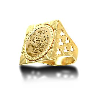 Jewelco London Men's Solid 9ct Gold Clubs Clovers Square Top St George & Dragon Medallion Ring (Half Sov Size)