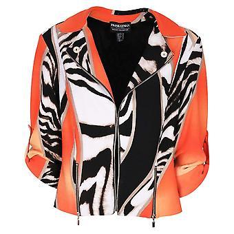 Frank Lyman Orange & Black Edge To Edge Rolled Sleeve Open Jacket