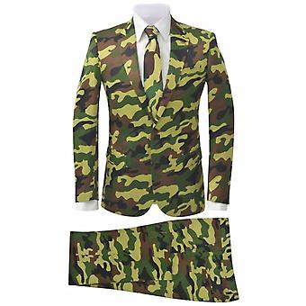 vidaXL 2-tlg. Herren-Anzug mit Krawatte Camouflage-Muster Größe 46