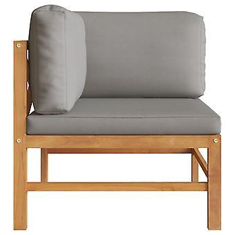vidaXL divano ad angolo con cuscino grigio scuro teak legno massello