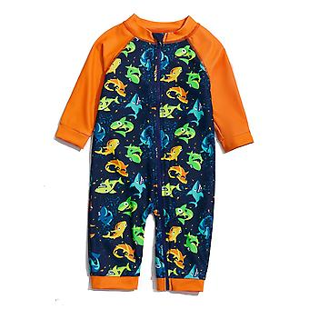 Baby Boys One Piece Swimsuit UPF 50+ Sun Protection 3/4 Sleeves Full-zip Sunsuit
