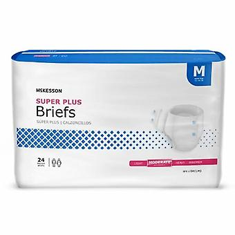 McKesson Unisex Aikuisten inkontinenssi Lyhyt McKesson Super Plus Tab Closure Medium Kertakäyttöinen Kohtalainen Absorbenssi, Valkoinen 24 Pussia