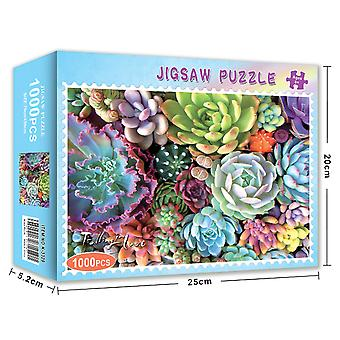 Swotgdoby 1000 Piece Jigsaw Puzzle For Adults And Families, Fun Family Puzzle With Plants And Succulent Theme