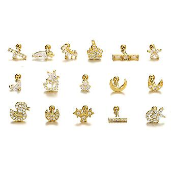 Ohrringe Piercing Schraube Golden Zirkon Ohr Knochen Ohrstecker für Festival