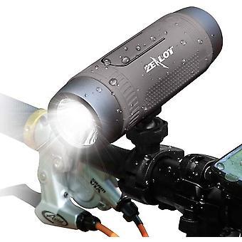 Bluetooth-høyttaler, Zealot bærbar Bluetooth-høyttaler, med LED-lommelykt, vanntett, mobil strømforsyning, sykkel håndfri funksjon, reise (grå)