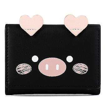 Short three-fold wallet multi-card women's wallet(Black)