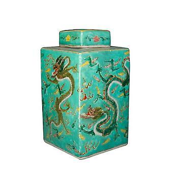 Fine Asianliving Chiński Imbir Jar Ręcznie malowany Dragon Porcelain Green W18xD18xH34cm