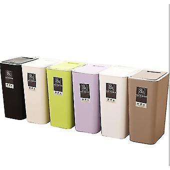 12 لتر فرز القمامة يمكن، مستطيلة البلاستيك القمامة المنزلية يمكن مع غطاء (بيج)