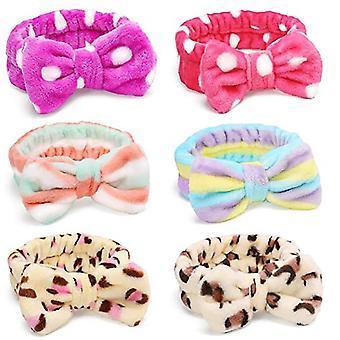 6 Pack Headband Hair Wrap Facial Shower Bath Fleece Bowknot Striped Hair Band