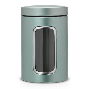 Round Canister Jar with Window and Accessories, 1.4 L - Metallic Mint