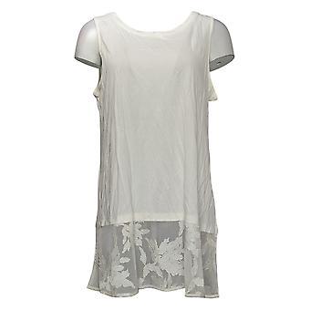 Lori Goldstein Women's Top Cotton Modal Tank Mesh Lace Hem Beige A378834