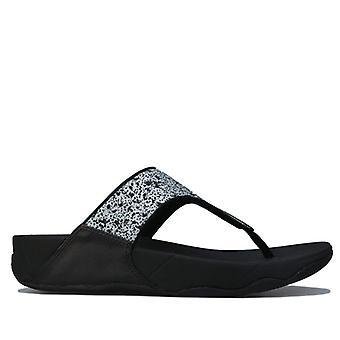 Sandali da donna Flop Lulu Glitter Wide Fit Toe Post in Nero