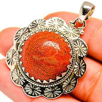 "Sponge Coral Pendant 1 1/2"" (925 Sterling Silver)  - Handmade Boho Vintage Jewelry PD10607"
