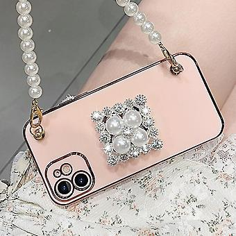 Suitable For Iphone12promax Mobile Phone Case Pure Color Simple Pearl Stand