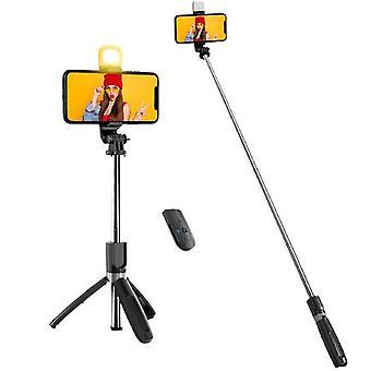 Selfie-keppi täyttövalolla, langattomalla kaukosäätimellä ja jalustalla