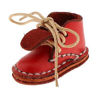 נעלי בובה אופנה 12 אינץ אדום שרוכים מגפי קרסול מתאים 1/6 בובת בליית