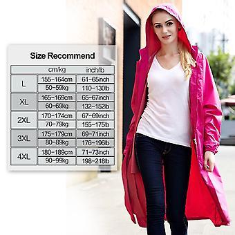 Qian-men And Women Long Waterproof Raincoat Cloak Dress-rose Red