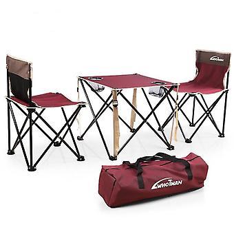 屋外キャンプピクニックポータブル折りたたみテーブルチェア3個セット