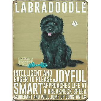 Medium Wall Plaque 200mm x 150mm - Black Labradoodle by The Original Metal Sign Co