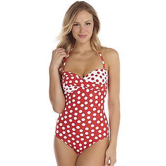 Seaspray Polka Dots Poppy Red Long Length Twist Top Bandea Swimuit 15-2751