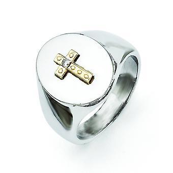 Ruostumaton teräs 10k Gold Cross ja 0,02ct Diamond kiillotettu rengas korut lahjat naisille - Rengas koko: 9-11
