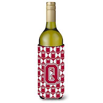 Brief Q voetbal Crimson, grijze en witte wijn fles drank isolator Hugger