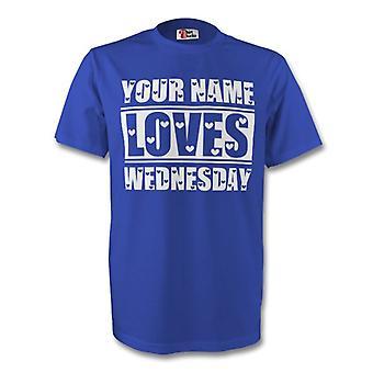 Su nombre le encanta miércoles camiseta (azul) - niños