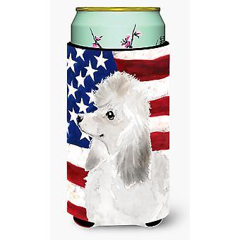 White Standard Poodle Patriotic Tall Boy Beverage Insulator Hugger