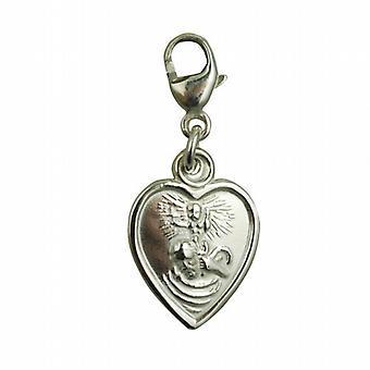 Zilveren 12x11mm hart, St Christopher charme op een kreeft-trigger