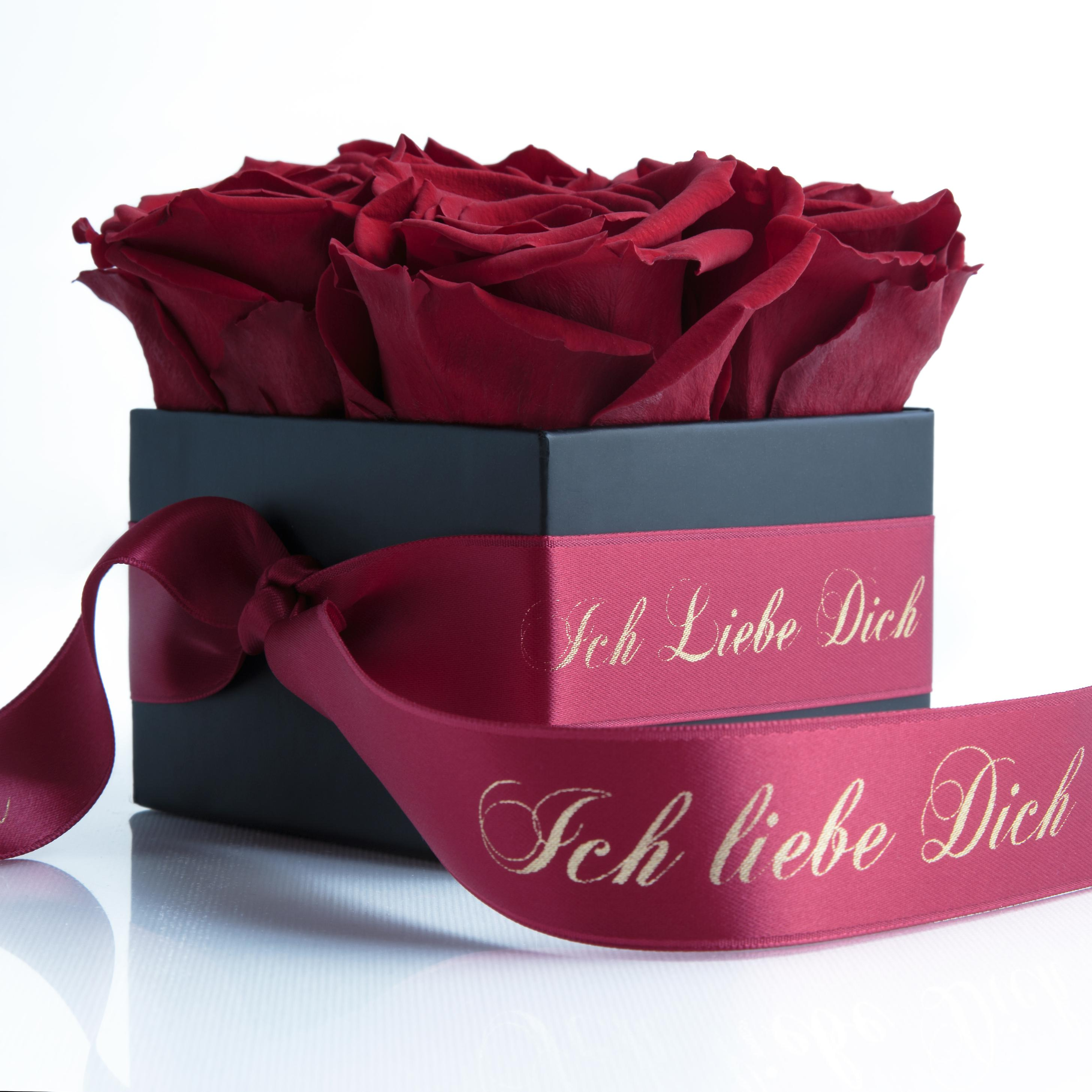 I love you box with 4 preserved roses dark red and satin band stable three years