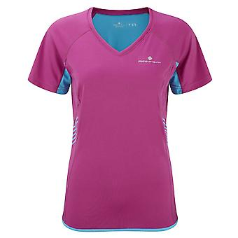 Ron Hill Ladies Aspiration Short Sleeve Sports Running Tee Magenta Cyan