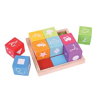 Bigjigs Toys Wooden First Picture Blocks Stacking Puzzle