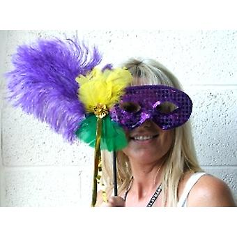 Feathered Mask Purple Sequin On Stick With Gold Streamers (1)