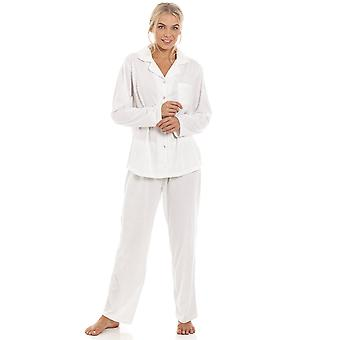 Camille Grey Pin Dot Long Sleeve Polycotton Button Front Pyjama Set