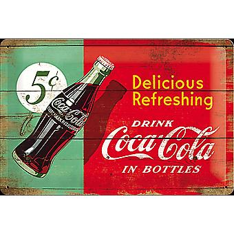 Deliciosa Coca Cola refrescante 5C relieve acero signo (300 Mm X 200 Mm)