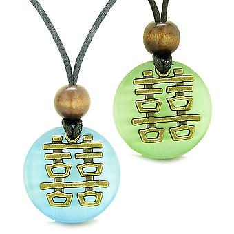 Double Happiness Love Couples Yin Yang Powers Fortune Amulets Green Sky Blue Cats Eye Necklaces