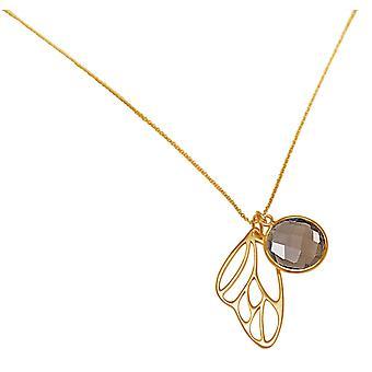 Gemshine halskjede anheng sølv sommerfugl vinger røykfylt kvarts brun