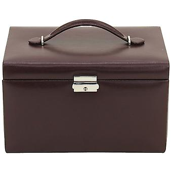 Jewelry box jewelry suitcase Friedrich Leder with fine synthetics Burgundy, mirror and drawers