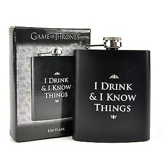 Game of Thrones flask-I DRINK & I KNOW THINGS-black, printed, brushed stainless steel.