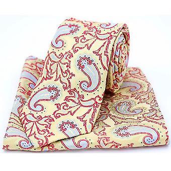 David Van Hagen Edwardian Paisley Tie and Pocket Square Set - Gold/Red