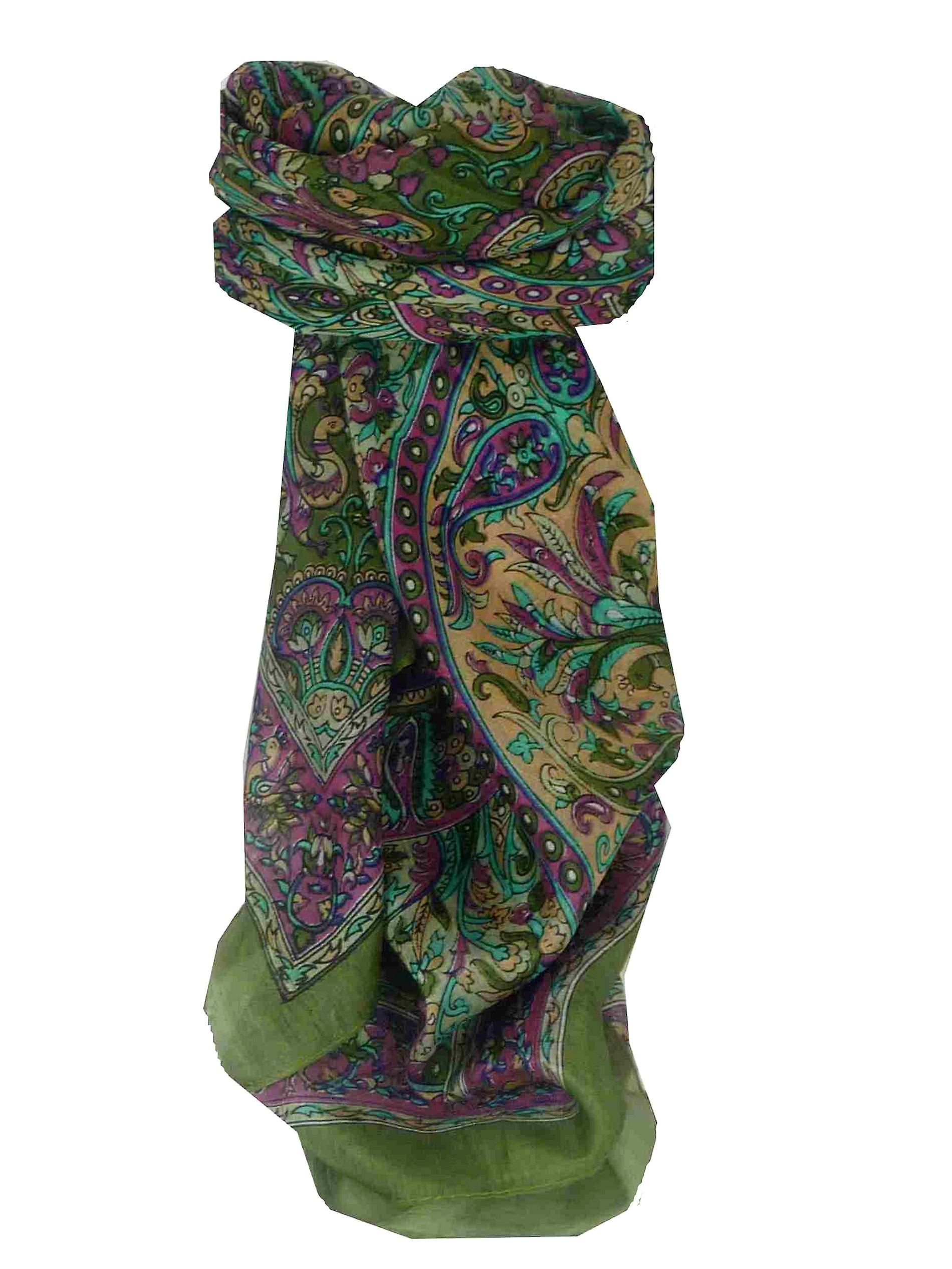 Mulberry Silk Traditional Square Scarf Mahe Green by Pashmina & Silk