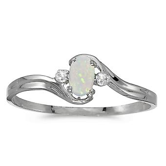 LXR 14k White Gold Oval Opal and Diamond Ring 0.08 ct