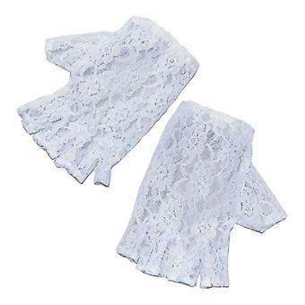White Short Fingerless Gloves.