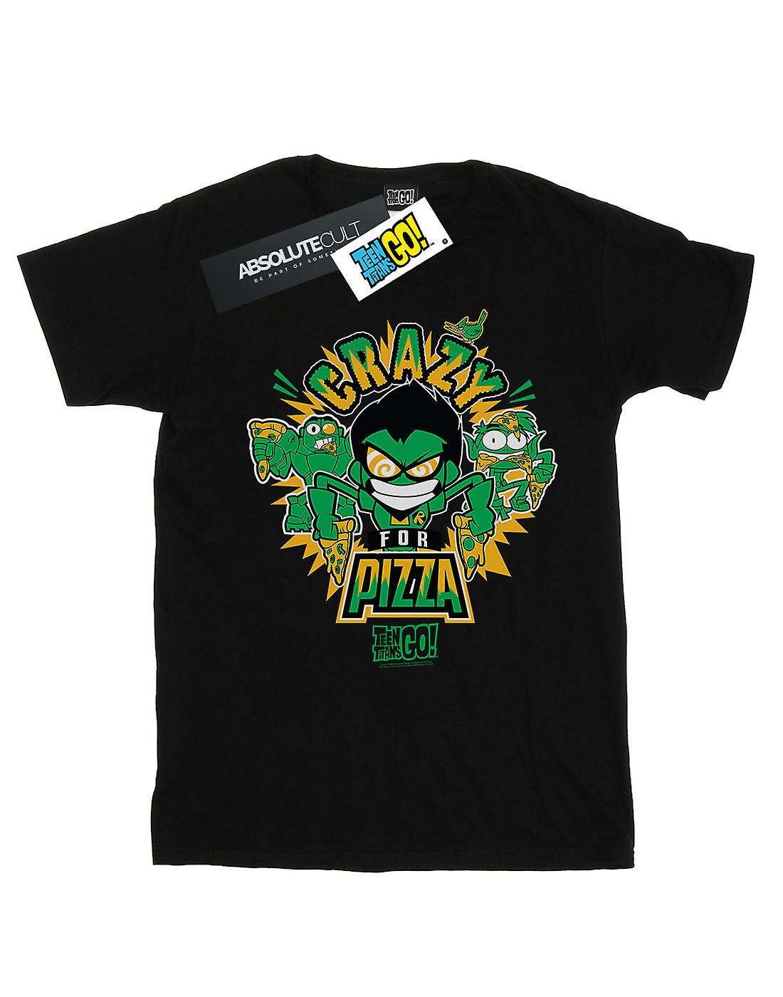 DC Comics Women's Teen Titans Go Crazy For Pizza Boyfriend Fit T-Shirt