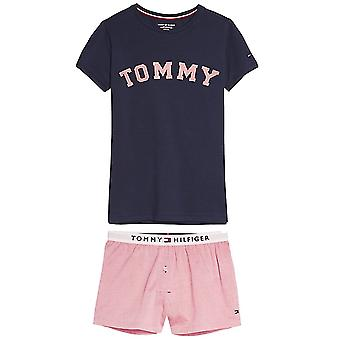 Set de pijama corto Tommy Hilfiger Girls Pure cotton, Blazer marino/Rose tan, gran