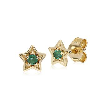 Classic Single Stone Round Emerald Star Stud Earrings in 9ct Yellow Gold 135E1523039