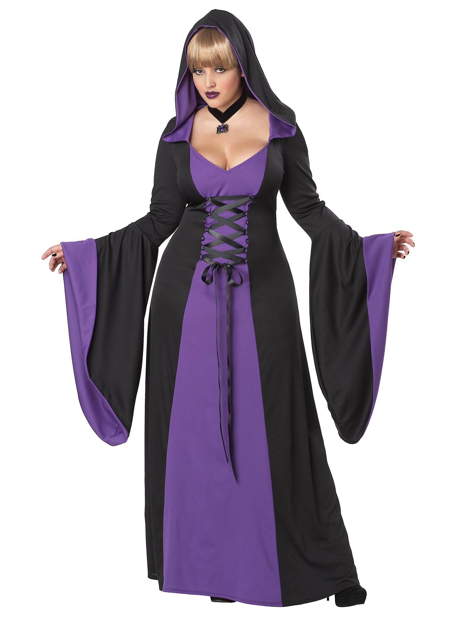 Deluxe Hooded Robe Puple Medieval Witch Gothic Vampire Womens Costume Plus