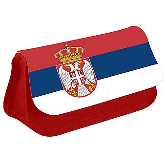 Serbia Flag Printed Design Pencil Case for Stationary/Cosmetic - 0154 (Red) by i-Tronixs