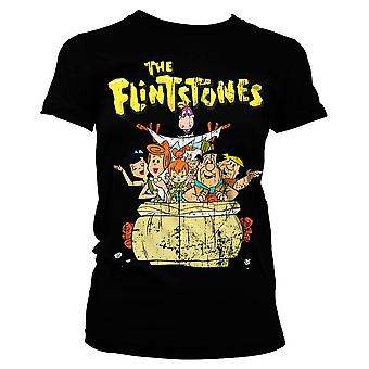 Women's The Flintstones Characters Black T-Shirt