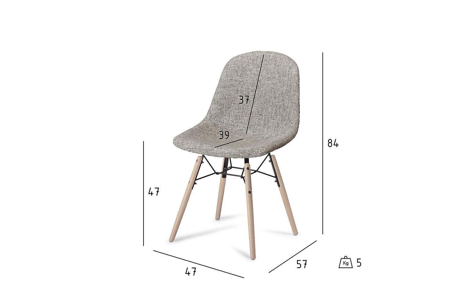 Furnhouse Sun Dining Chair, Red/Grey, Natural Legs, 47x57x84 cm, Set of 2